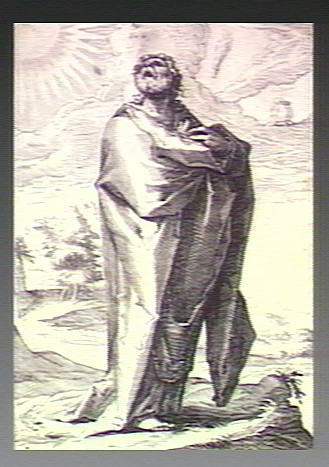 V0034343 The prophet Jeremiah wailing alone on a hill. Engraving.